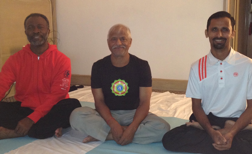 Dr. Levry with Guru Ji (Sri Bal Mukund Singh Ji) and Master Yogi Sunil Dahiya in India